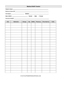 Medical Refill Tracker Printable Medical Form, free to download and print