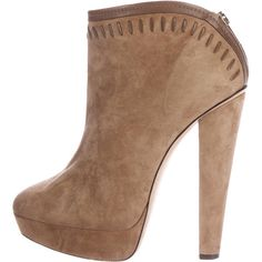Pre-owned Jimmy Choo Suede Platform Booties ($125) ❤ liked on Polyvore featuring shoes, boots, ankle booties, brown, brown platform booties, brown suede ankle booties, round toe boots, zipper boots and brown platform boots