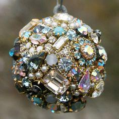 Vintage Rhinestones Ball Orb Sphere Ornament  Blues/Pearls/Clear, Irridecent