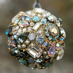 Vintage Rhinestones Ball Orb Sphere Ornament  Blues/Pearls/Clear, Irridecent