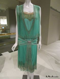 00256f3d4182 Emerald silk chiffon evening dress with beaded silk satin, pearl and  diamond embroidery, Flapper Style at Kent State Museum of Fashion