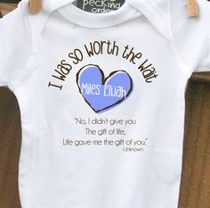I <3 this!  Childrens personalized onesie-I Was So Worth the Wait heart adoption quote onesie- adorable way to announce. $16.50, via Etsy.