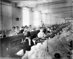 factory work 1800s america | Women at sewing stations in the Triangle Shirtwaist Factory