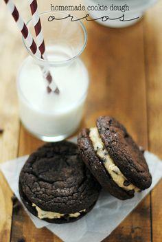 Homemade Cookie Dough Oreos   www.somethingswanky.com