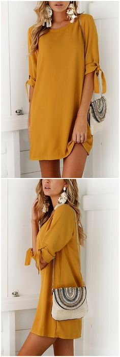 Yellow Self-tie at Sleeves Mini Dress US$13.95