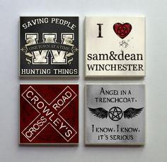 Supernatural SPN Fandom  Ceramic Tile 4pc. by LemonPlumDesigns, $10.50
