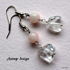 Exclusive earrings with Rose quarts bead from Lisa Astrup Art & craft by DaWanda.com