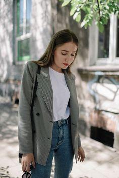 Street Style: Classic Houndstooth Blazer - Jestem Kasia Blog