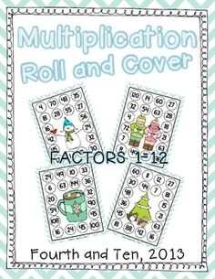 Winter Multiplication Roll and Cover {Factors 1-12} 10 game boards of engaging FUN! :) paid product