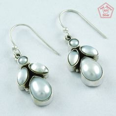 4.1 gm SilvexImages 925 Sterling Silver Pearl Stone FANTASTIC Earring 5093 #SilvexImagesIndiaPvtLtd #DropDangle