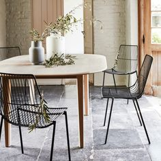 Objet Deco Design, Dining Chairs, Dining Table, Lounge Chairs, Table Extensible, Wire Chair, Decoration Table, Furniture, Black