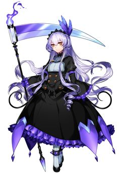 1girl chandelure dress drill_hair expressionless feathers fire frills full_body headdress highres katagiri_hachigou lavender_hair long_hair long_sleeves looking_at_viewer personification pokemon pokemon_(game) puffy_sleeves purple_gloves scythe shoes simple_background solo turtleneck white_background white_legwear wide_sleeves yellow_eyes