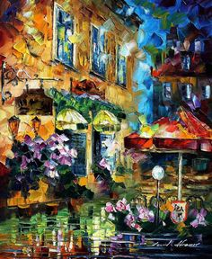 Cafe In Berlin — PALETTE KNIFE Oil Painting On Canvas By Leonid Afremov