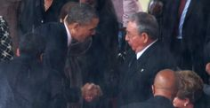 """After a bruisingly tough time on the international stage, Barack Obama has shown that he can act as a statesman of historic heft. And so, at this moment, has Raúl Castro,"" Jon Lee Anderson writes. (Above: Obama and Castro shake hands at Nelson Mandela's funeral in South Africa. Photograph by Chip Somodevilla/Getty)"