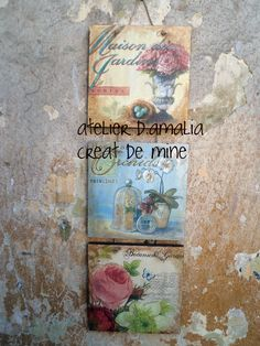 3 pieces set, decoupage on wood, available in atelier d.amalia