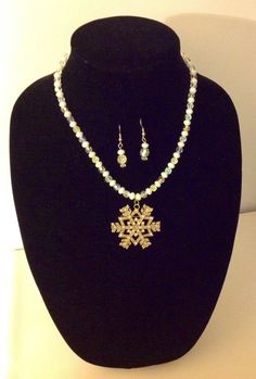Snowflake Necklace and Earring Set by MaidenLongIsland on Etsy