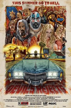 """brokehorrorfan: """"Greg Reinel was privately commissioned to create this poster for The Devil's Rejects. As you can see below, writer-director Rob Zombie approves of the artwork. Keep reading """" Rob Zombie Art, Rob Zombie Film, Zombie Movies, Scary Movies, Horror Movie Characters, Horror Movie Posters, Movie Poster Art, Horror Movies, Cinema Movies"""