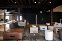 One of the casual meeting areas, furnished with lounges custom-designed with Koskela.