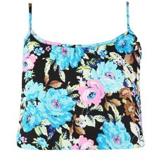 Donnetta Floral Cami Top With Open Back Detail in Black ($7.37) ❤ liked on Polyvore featuring tops, shirts, crop tops, tank tops, blusas, black camisole, black shirt, open back shirts, floral crop top and crop top