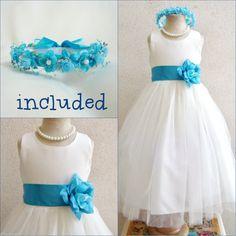 24.49$ Buy here - http://viuoh.justgood.pw/vig/item.php?t=00vyurw0503 - Gorgeous Ivory/turquoise malibu blue flower girl dress FREE HEADPIECE all sizes 24.49$