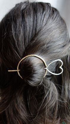 Hair Ware // Brass and Sterling Silver Heart Hair Bun Pin Holder Hair Slide Mixed Metals