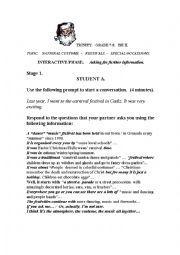English worksheet: TRINITY GRADE 7-8 ISE II INTERACTIVE PHASE  SPEAKING
