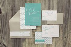 Aqua wedding invitation // photo by Devon Donnahoo Photography, design by Megan Martin