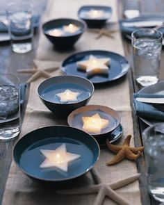 Love the star candles, would be so cute to have different shell and marine animal shapes