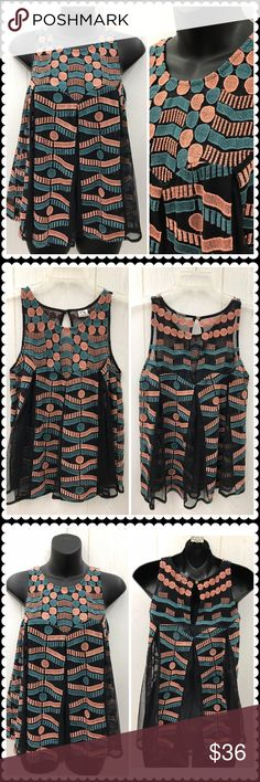 AKEMI + KIM Sleeveless Embroidered Trapeze Top XS Beautiful Trapeze Blouse by AKEMI + KIM. Blue & Peach embroidery. Sheer black fabric. Single button at back of neck. Sz XS Anthropologie Tops Blouses