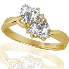 10k Yellow Gold White Topaz and Diamond Heart Ring (0.02 cttw, I-J Color, I1 Clarity), Size 7 Buy now with new offer price deals and discount