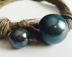 HONEY  pearls  Big linen necklace