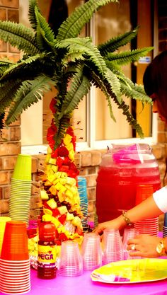 Awesome palm tree at a Hawaiian Luau Birthday Party! See more party ideas at CatchMyParty.com!