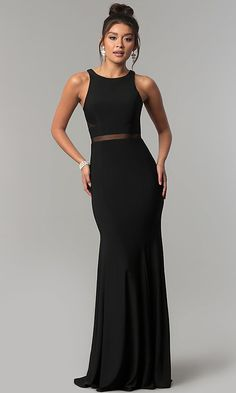83a03052c1 Long Formal Dress with Sheer-Illusion Insets