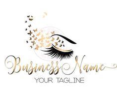 DIGITAL Diseño de logotipos personalizados, latigazo del logo de la mariposa, ojos pestañas oro belleza insignia, logo de maquillaje, diseño de la insignia de oro de pestañas, lash de logo de belleza oro