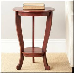 Round Pedestal Accent Table Wood Red End Tables Living Room Furniture  | eBay