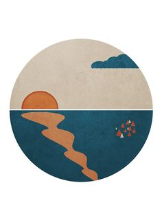 Simplistic Ocean Horizon by kbsnow Record Wall Art, Kalender Design, Cd Art, Small Canvas Art, Aesthetic Painting, Vinyl Art, Art Prints, Illustration, Ocean Horizon