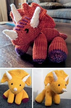 Knitting Pattern for Triceratops Amigurumi - Dinosaur stuffed toy with move. -Free Knitting Pattern for Triceratops Amigurumi - Dinosaur stuffed toy with move. Baby Knitting Patterns, Knitting Kits, Loom Knitting, Free Knitting, Crochet Patterns, Amigurumi Patterns, Stitch Patterns, Crochet Baby Toys, Crochet Amigurumi