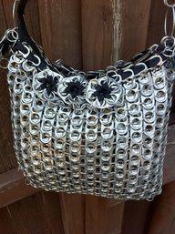 Upcycled Aluminum Soda Pop Can Tab Messenger Handbag.