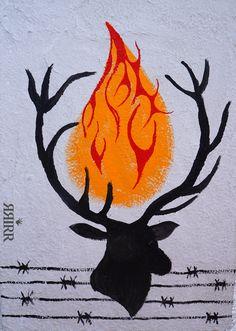 PATRONUS   Pintura en acrílico sobre bastidor de papel reciclado   50x70   RRiRR Ricardo Gil Turrion