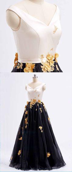 Black tulle V neck long 3D lace appliques prom dress, long black evening dresses #prom #dress #promdress #promdresses
