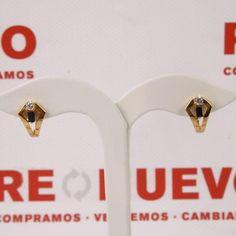 Pendientes de oro con circonitas E266457D de segunda mano #joyeria #pendientes #oro