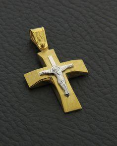 Σταυρός χρυσός & λευκόχρυσος Κ14