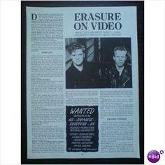 Erasure - Erasure On Video 2 page feature Record Collector magazine