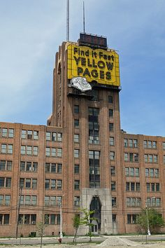 Michigan Bell Building. The Yellow Pages sign is now gone, and is rumored to be in the Green Field Village/ Henry Ford Museum storage facility.
