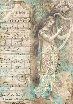 Rice Paper - Lady with harp - for Decoupage Scrapbook Craft Decoupage Vintage, Vintage Ephemera, Vintage Cards, Vintage Images, Vintage Paper Crafts, Decoupage Printables, Printable Scrapbook Paper, Rice Paper Decoupage, Etiquette Vintage