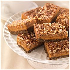 This flavorful dessert is perfectly balanced with creamy pumpkin and crunchy pecan! #Krusteaz Pumpkin Pecan Bars! #Thanksgiving