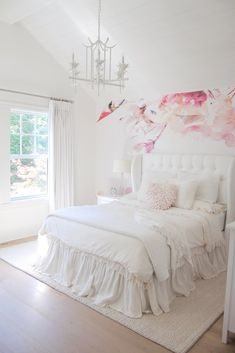 Chandelier is from Horchow White bedroom paint color. White bedroom paint color is Benjamin Moore Simply White. Home Decor Store, Cheap Home Decor, Home Decor Instagram, Diy 2019, Bright Homes, Bedroom Paint Colors, Teen Girl Bedrooms, Home And Deco, Elegant Homes