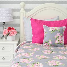 Caden Lane Baby Bedding vintage floral print in pinks and gray, perfect for a big girl room or teen girl room! #roomdesign #floralbedding