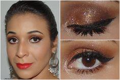 Make com sombra bronze brilhosa e batom colorido