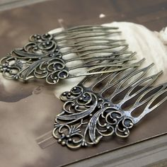 5Pcs Wholesale Antique bronze plated Brass Filigree hair comb Setting NICKEL…